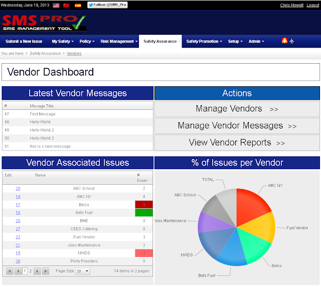 aviation safety management software vendor management dashboard
