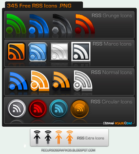 345 free rss  icons by studiom6 100+ Amazing Free RSS Feed Icons Set Download