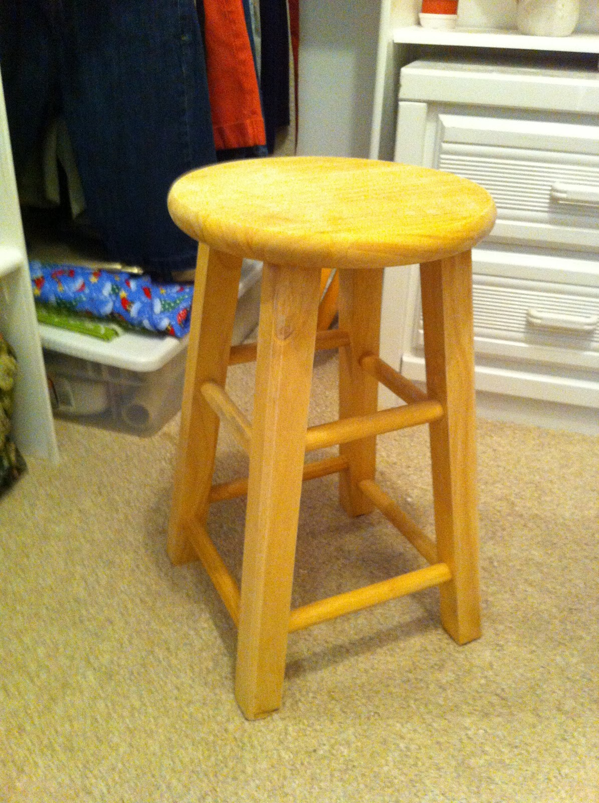 The Wonders Of Doing: Turning A Bar Stool Into A Little Dressing Room . Full resolution  image, nominally Width 1195 Height 1600 pixels, image with #BD360E.