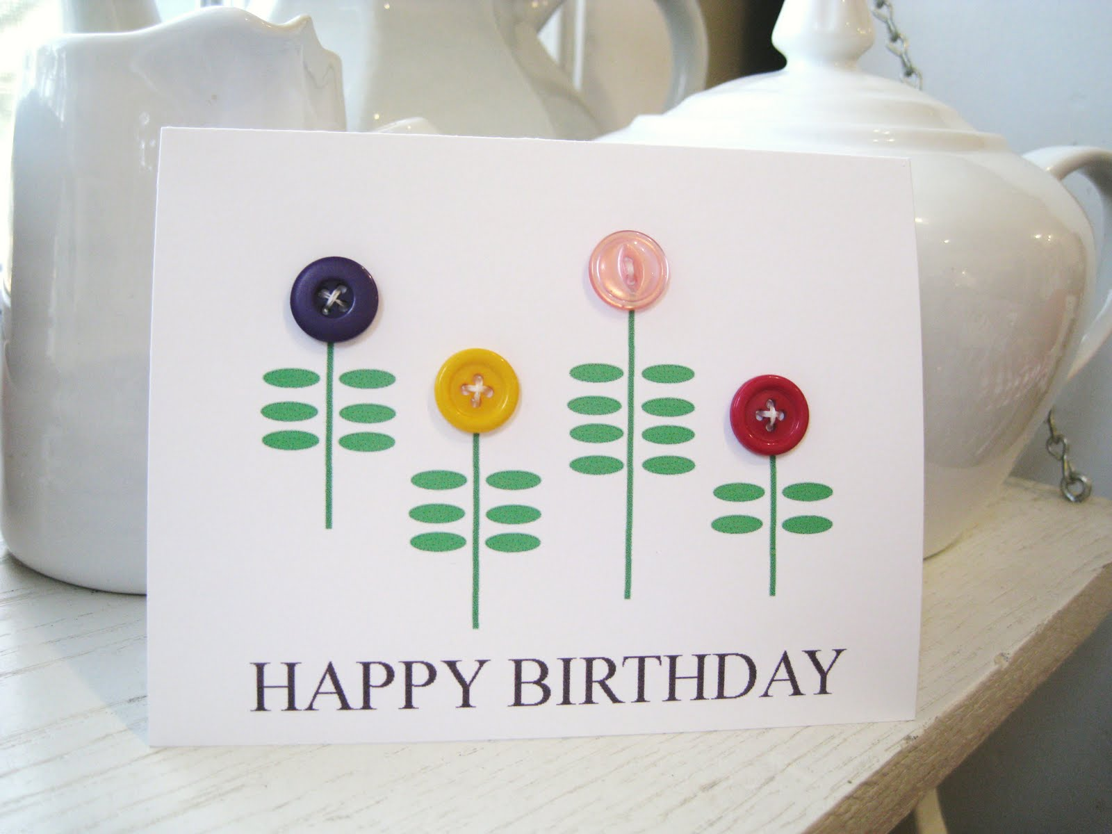 Pearl Studs And Aviator Wings Simple Birthday Flower Card