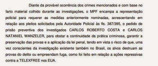 Pedido do Ministério Publico de Vitória, onde eles pediram a Prisão do Carlos Costa.