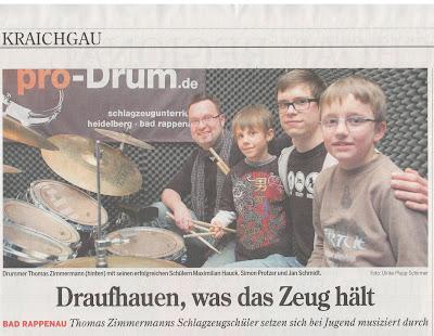 Jugend musiziert: 3 x 1. Preise f. pro-Drum!