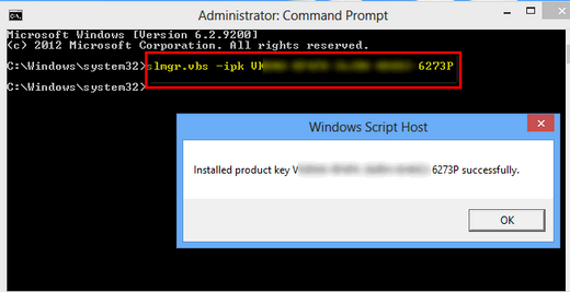 Windows activation by phone command codes