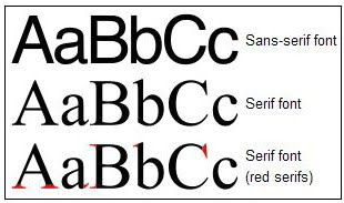 Three rows of type. Top row is sans-serif font. Second row is serif font. Third row has serifs accentuated in red.