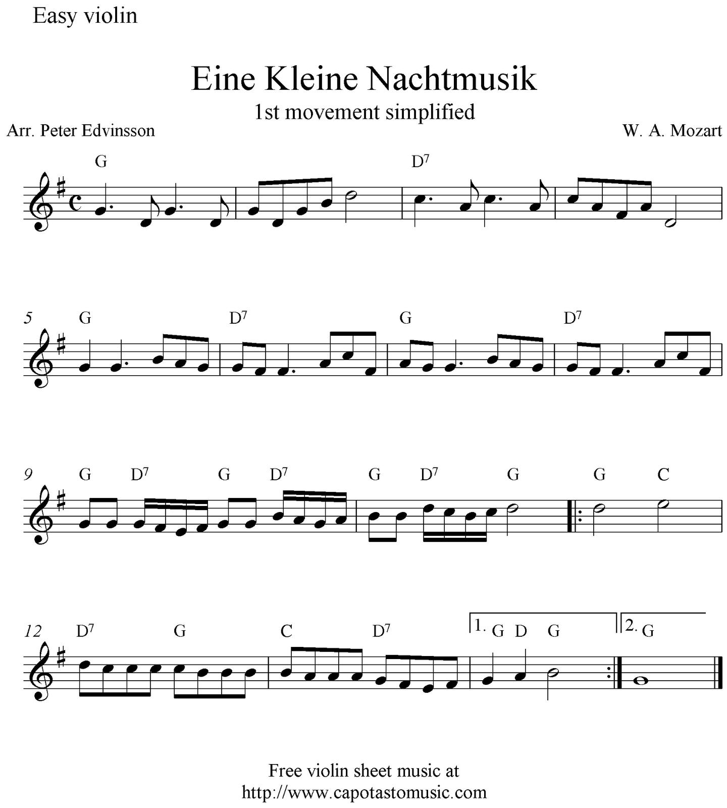 Eine Kleine Nachtmusik, Free Easy Violin Sheet Music Notes