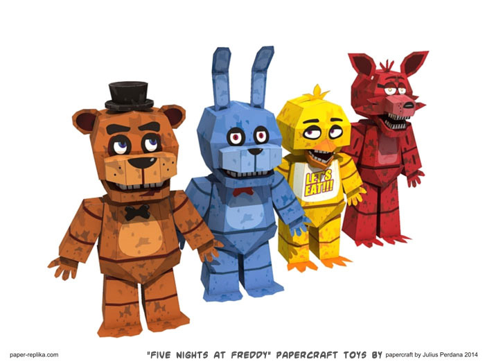 Papercraft weblog quot five nights at freddy s quot papercraft toys