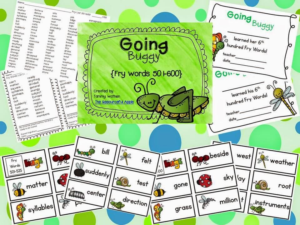 http://www.teacherspayteachers.com/Product/Going-Buggy-Fry-Words-501-600-1228140