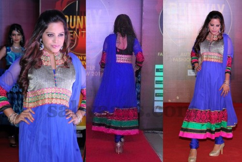Blue High Neck Salwar Suit
