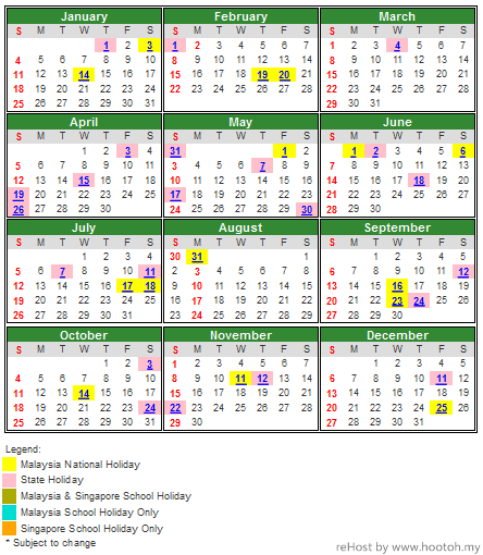 2015 School Holidays, National and Public Holidays in Malaysia