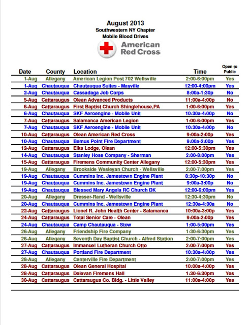 american red cross of southwestern ny august blood drives. Black Bedroom Furniture Sets. Home Design Ideas