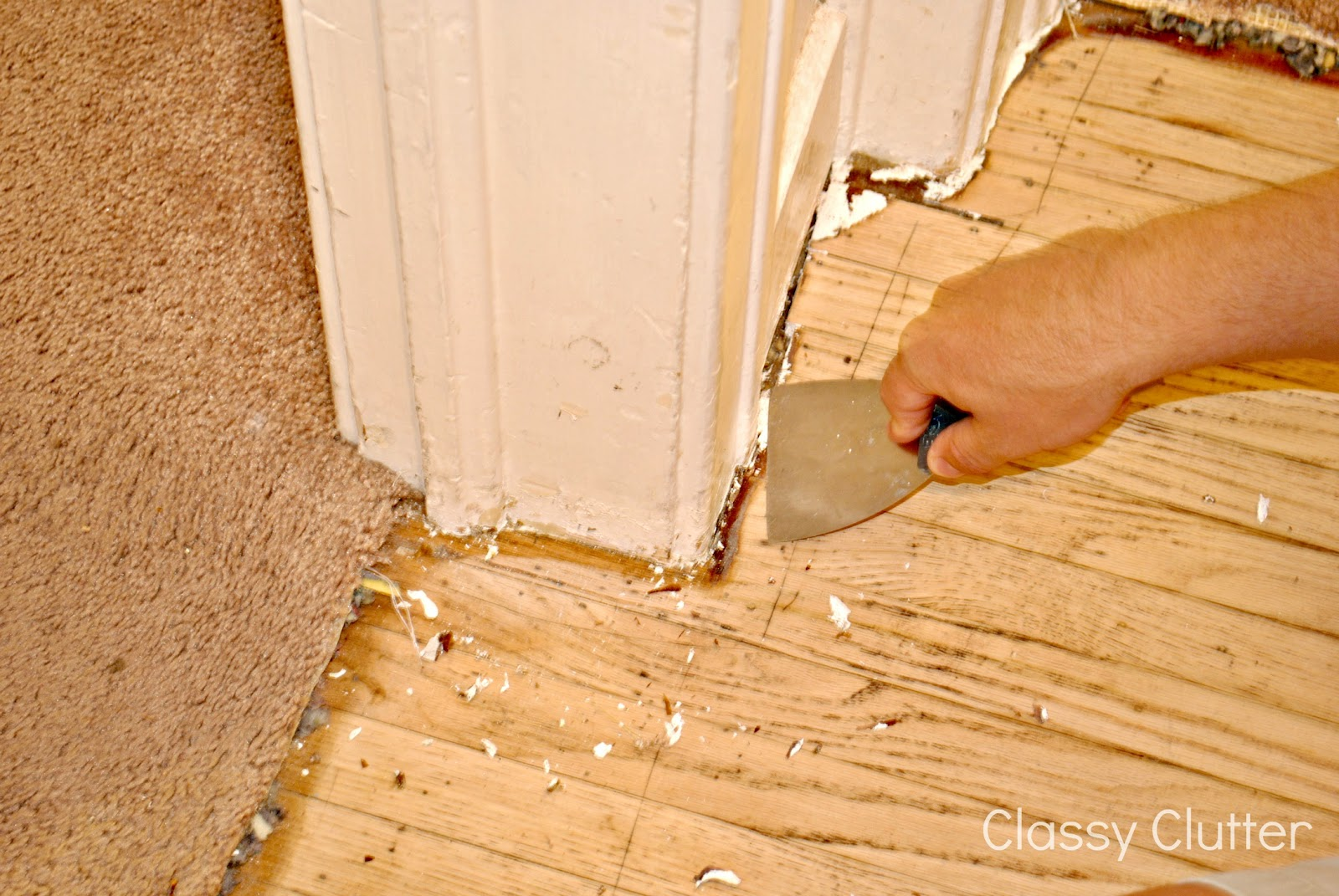 How to remove carpet and refinish wood floors part 1 classy clutter - Remove carpet stains ...