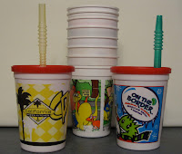 reusable kids-cups from restaurants with straws and lids