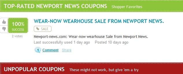 Newport news coupon code 30