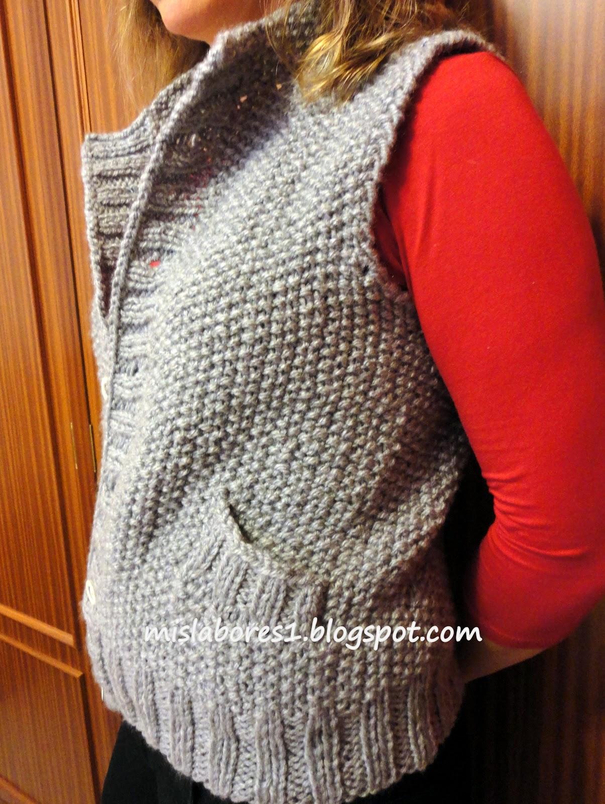 Mis labores chaleco de punto arroz - Puntos de agujas de lana ...