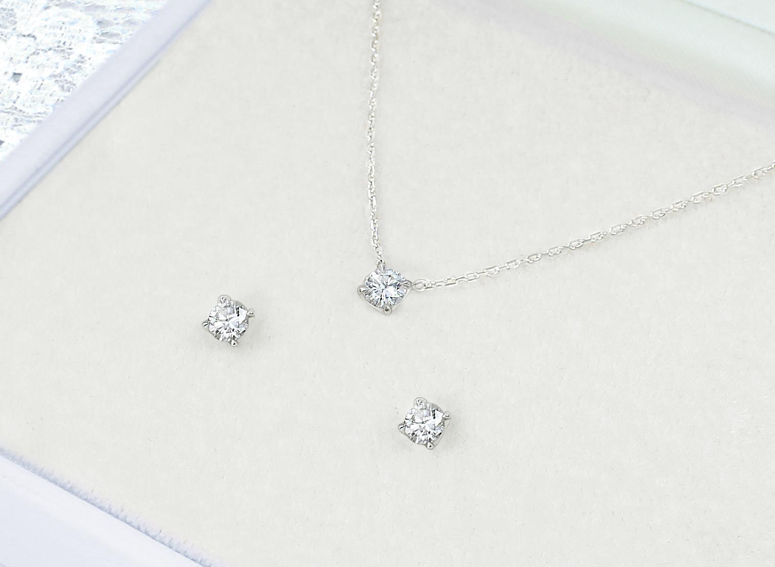 プラチナで作ったダイヤモンドプチネックレスとピアスをケースに入れた写真