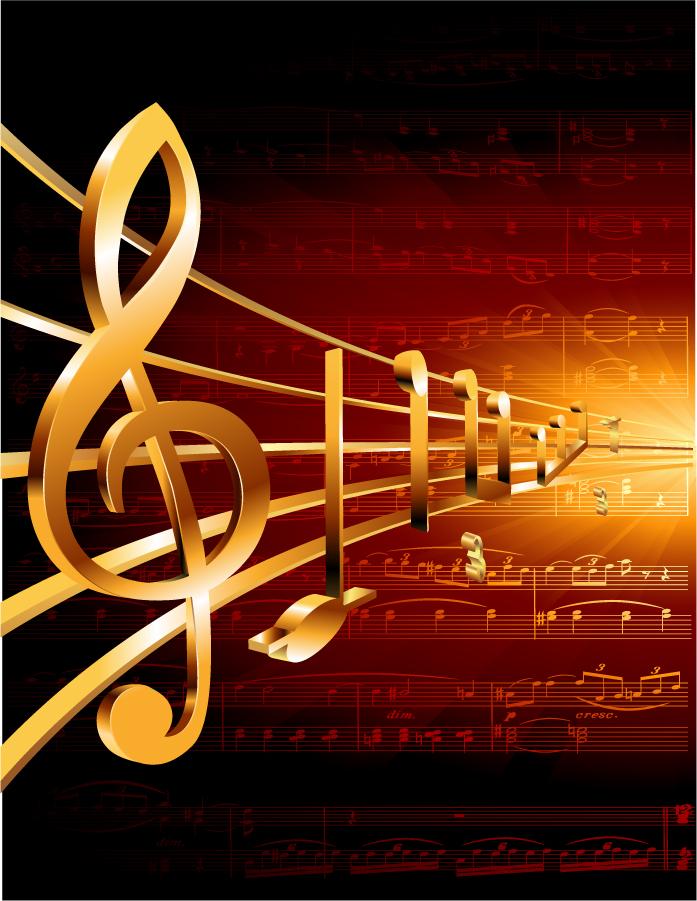華やかな金色の楽譜 ornate classical music vector イラスト素材