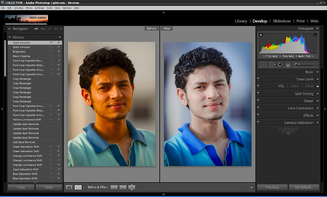 Correcting Skin Tones in Adobe Photoshop Lightroom - Part1 (Very Basic Things to DO) : Before we start on correcting skin tones, I would want you to read few basic things shared at BASIC GUIDELINES FOR POST-PRODUCTION OF PEOPLE PORTRAITS !!! Ensuring correct skin color in a photograph is most important for people portraits. Unlike other type of photographs, it's really important to have right tones and colors in Photographs having people portraits !Here is my preferred workflow of processing People portraits !!!1. Import your shot photographs into Lightroom. 2. First step would be adjusting basic things in photograph. Like white-balance, Camera/lens Corrections, Exposure etc. Let's have a look at tools which help in doing these and I would try to show all the results through screen-shots from my computer.2a. Go to Develop Module of Adobe Lightroom2b. Now you see lot of Adjustment controls on right side of Lightroom. By looking at the photograph of this young boy, we shall start with Basic Adjustments.Do you see some difference in overall Photograph after basic adjustments? I will not repeat how these controls work. Please check out THIS LINK to understand basic adjustments.3. Next basic step is to apply Lens correction which will remove very basic distortions from your photograph. In case you have specific requirements, that can be catered through Manual controls.4. Next important step is to zoom and see what extra spots or scars we need to remove from photograph. So just select the area in Navigator which will be shown in the middle of the canvas. Please see screenshot below and marking to understand it better.After some clean efforts, we see some improvements and more requirement as well... I will stop here to proceed further... Don't forget to see marking in the screenshot below. You may need to use Close or heal depending upon photographs and density of scars. Also there are sliders to change size and opacity if spot healing brush !!!See the difference after using Spot Healing Brush !!!5. Next step would be adjusting tonal values to adjust skin color and shirt !!! Please see photograph below with marks to understand the changes done. With color smoothness is also important and for boys if it becomes very smooth, use some grains or sharpness depending upon photograph and texture you need.6. At times some sharpness is required to make things shine. Sharpening hair is a very important thing people want to do in Fashion industry !!! Details section in Develop module give various controls to adjust Sharpness and Noise !!!7. Lets use Effects controls to have some vignette type effect which is not required and it should be avoided for professional portfolios... But some people like it, so I thought of adding here !!!8. See your final results and get ready for next tutorial on Portrait post-production with more details !!!Here is our final result after very basic controls. And let me share that it skin color tastes, demands and texture depends upon person to person and style. He will discuss various skin colors in near future and ways to achieve them !!!Please feel free to comment back to know more about any of the things discussed here !!!