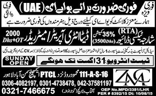 UAE Jobs for Taxi Driver & Data Entry Operator