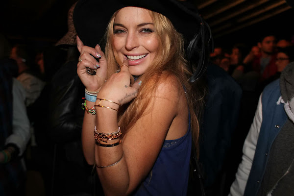 Linsay Lohan having a good time at Coachella Valley Music and Arts Festiva 2012