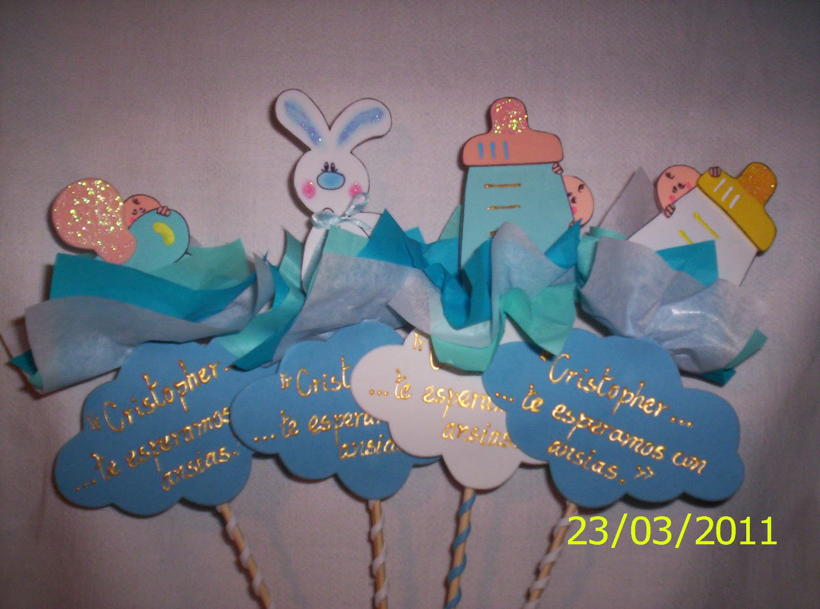 House creations centro de mesa baby shower ni o for Mesa baby shower nino