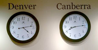 denver canberra timezone clocks