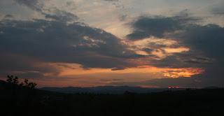 A sunset develops