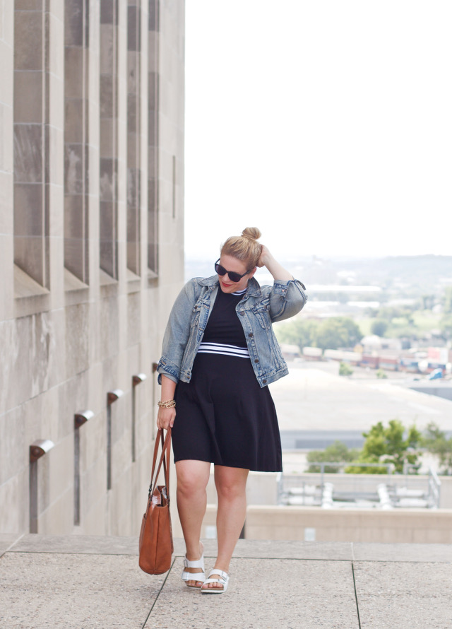 Denim jacket outfit with dress