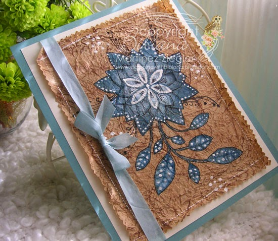 Faux amate card with memory box stencils and inks