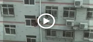 Man Saves Little Girls Life From Hanging on Fourth Floor Window Using a Broom