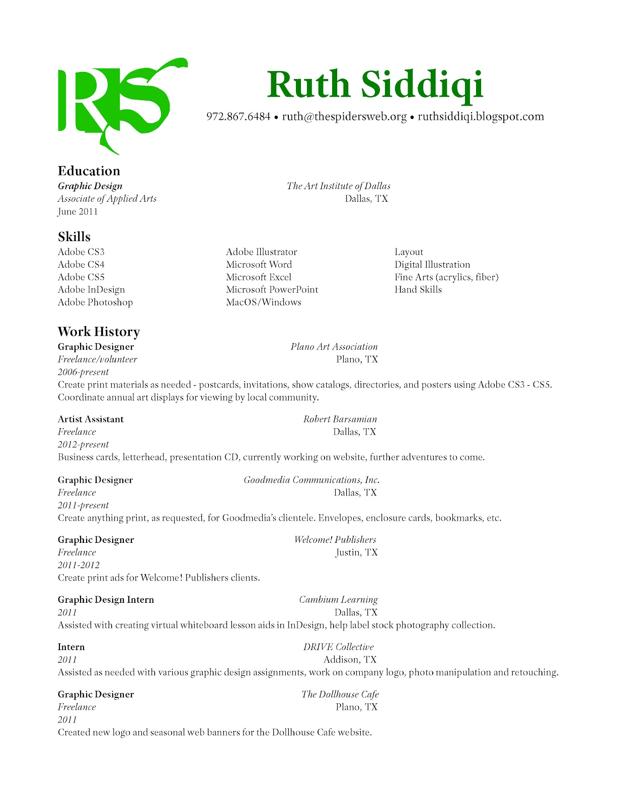 ruth siddiqi graphic design resume - Freelance Graphic Designer Resume