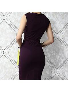 Vestido hasta la rodilla, con escote V, sin mangas, falda tubo y cinturón delgado