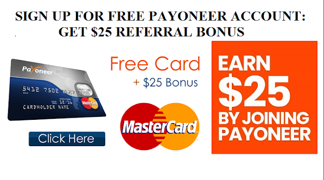SIGN UP FOR FREE #PAYONEER ACCOUNT: GET $25 REFERRAL BONUS!