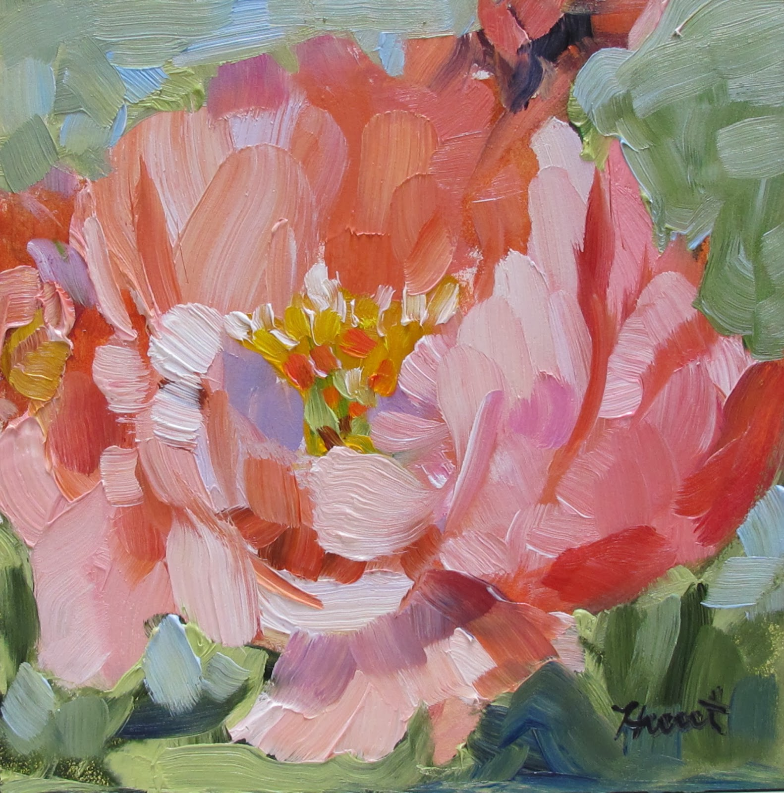 Linda hunt fine art september 2013 for Painting large flowers in acrylic