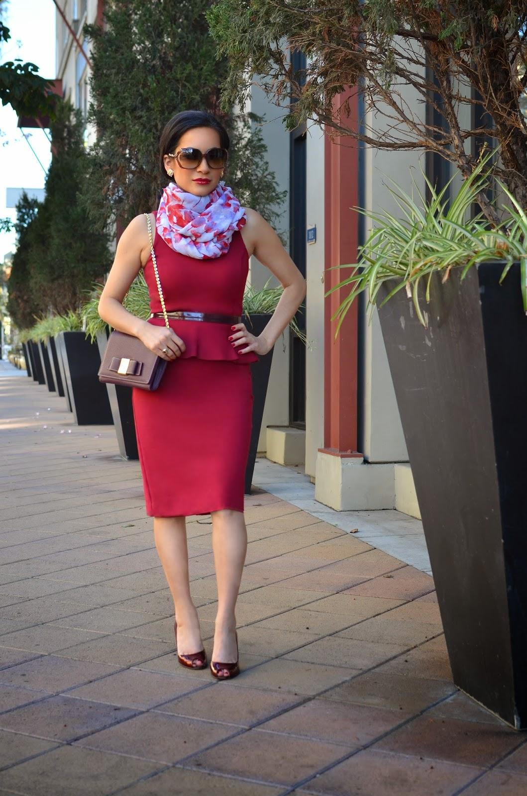 Armani Exchange Burgundy Peplum Dress Ivanka Trump Handbag Vera Wang Floral Scarf Maroon Stuart Weitzman Peep Toe Heels Gucci Sunglasses