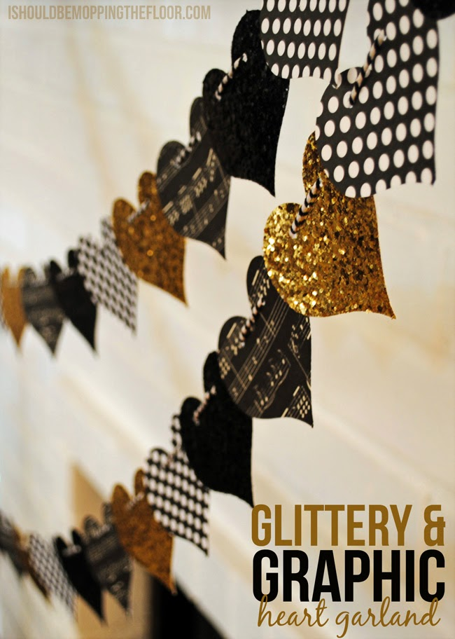 Glittery and gold heart garland by I should be mopping the floor