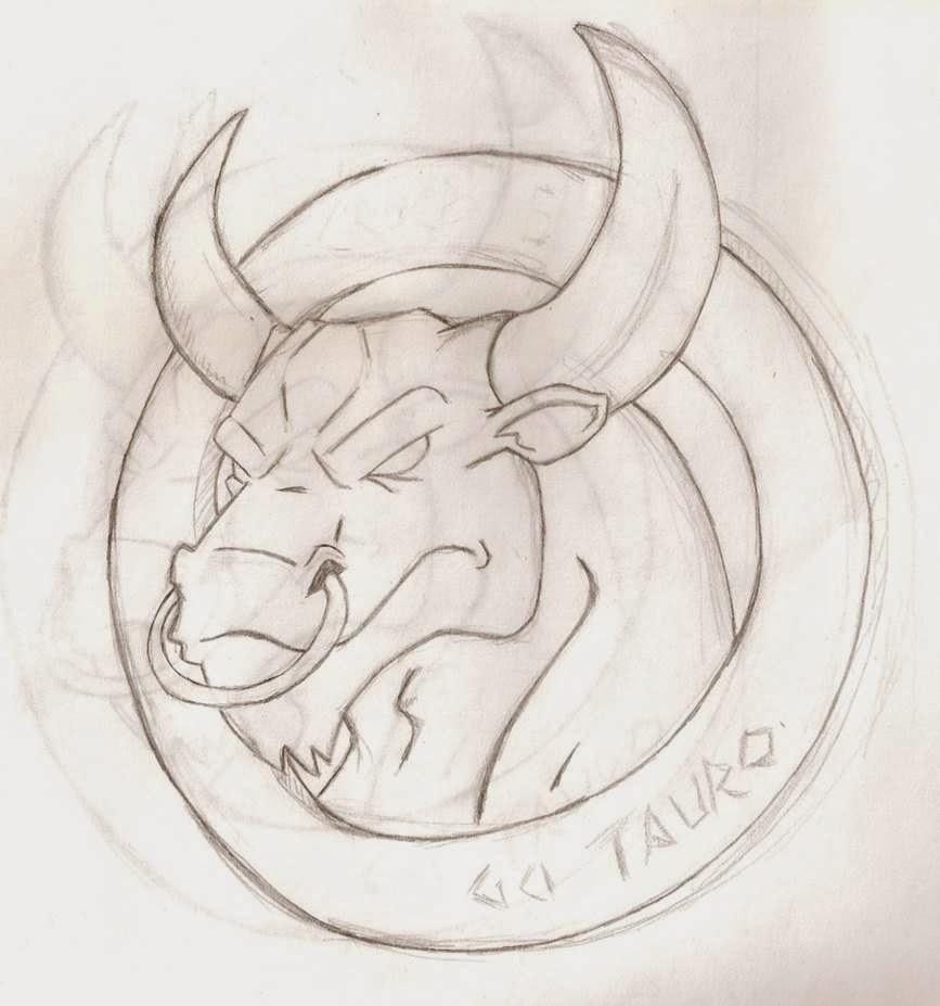 toro, tauro, ilustración, lapiz, boceto