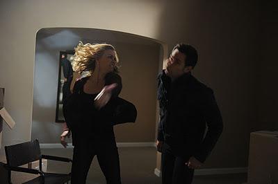 Sarah punching Chuck
