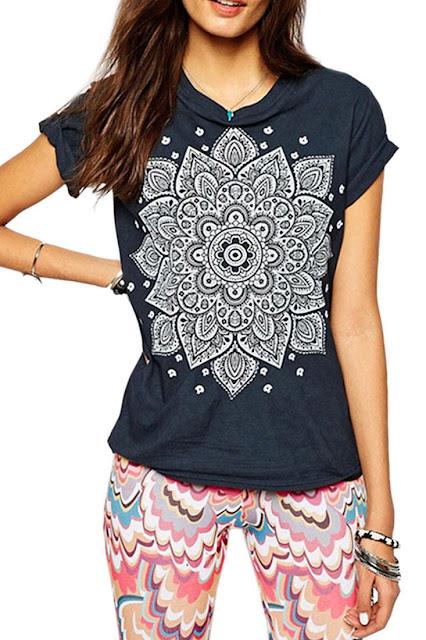 Navy Floral Print Short Sleeve T-Shirt