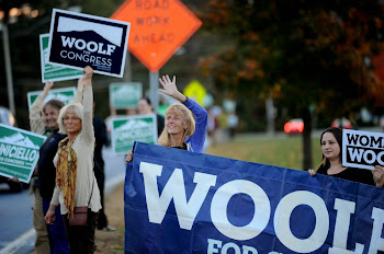 Supporters Outside of Friday Debate in Glens Falls