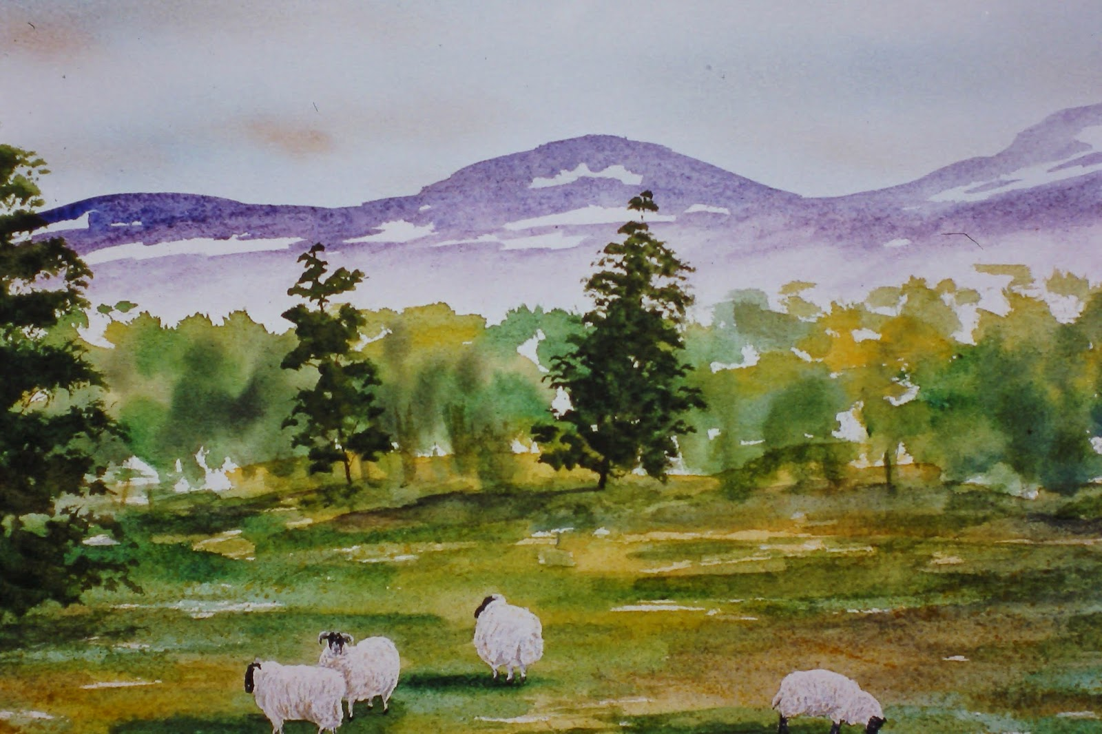 View from Little Keithock Farmhouse, near Fettercairn, Angus, Scotland  28x40 inches. Watercolor on paper, c. 1992.  In a private collection in Glasgow, Scotland