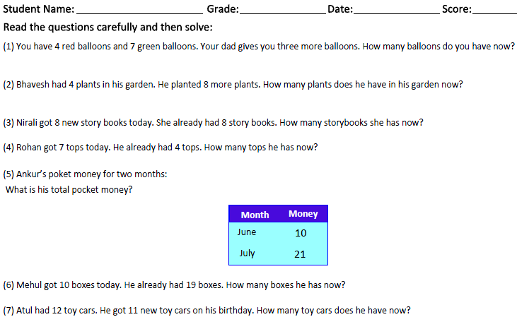 Free Worksheets » Maths Worksheets For Class 1 - Free Printable ...