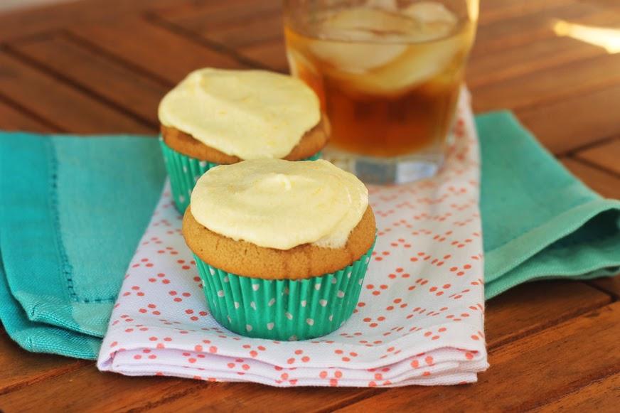 bourbon vanilla cupcakes with peach buttercream