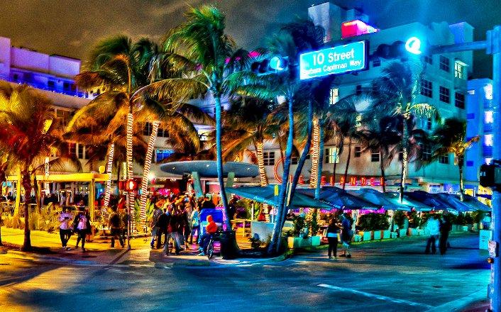 Ocean Drive Avenue In Miami Beach