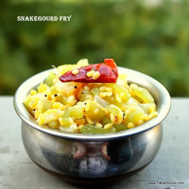 Snake gourd Kootu / Pudalangai poriyal / Pudalangai Kootu  / Snake gourd Fry
