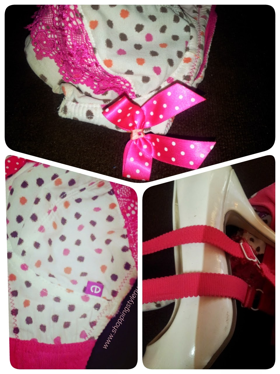 Enamor Girlies Bra With Pink Bow, Lace and Scalloped Strap