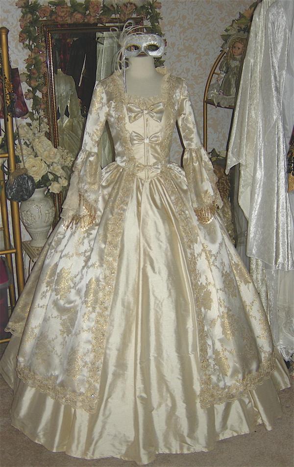 Elegant Champagne Victorian Masquerade Dress