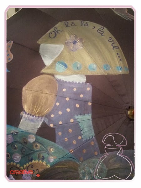 Paraguas pintado a mano por Sylvia Lopez Morant, parte superior del paraguas