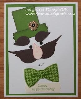 Punch Art Leprechaun Card for St. Patrick's Day using Stampin'UP!'s Bird Builder Punch