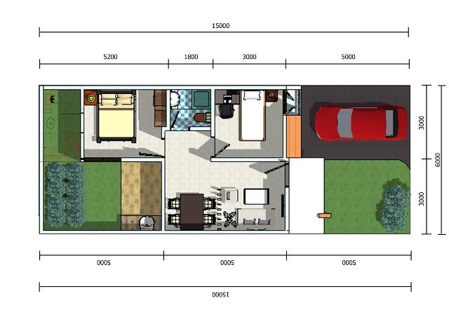 30 macam denah rumah type 45 inspirasi desain rumah