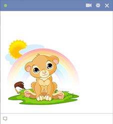 Cartoon lion under rainbow